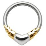 Piercing anillo 1,6mm 42 - corazón llamas amarillos