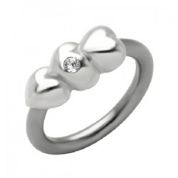 Piercing anillo 1,6mm 53 - tres corazóns