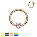 Piercing anillo 1,6mm 93 - PVD strass plato