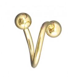 Piercing espirale 13 - chapado-oro Bolas
