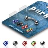 Pack de piercings arcades 06 - Bolas estriado en acero