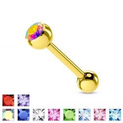 Piercing micro-barbell 10 - chapado-oro strass