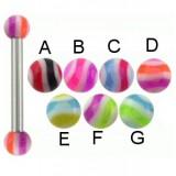 Piercing micro-barbell 18 - UV Bolas estriado