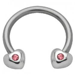 Piercing circular 35 - corazóns strass rosas