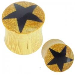 Plug curvo en madera de palma estrella negro