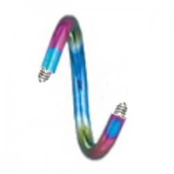 Barra piercing espirale 1.6mm PVD rainbow