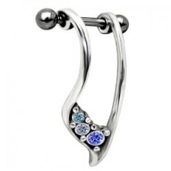 Piercing helix 12 - escudos strass azuls