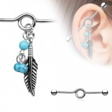 Piercing industrial 166 - pluma y turquesas