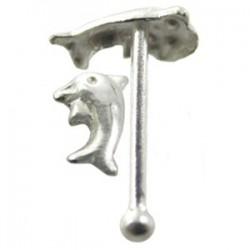 Piercing stud de nariz 0.5mm 28 - Delfín sencillo