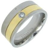 Anillo en titanio 03 - Grise y gold-ip con zircona