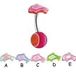 Piercing ombligo UV 56 - Multilayer Delfín