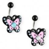 Piercing ombligo mariposa rosa y negro (52)