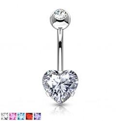 Piercing ombligo corazón 88 - Doble cristal