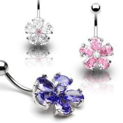 Piercing ombligo Flor 15 - Cristal
